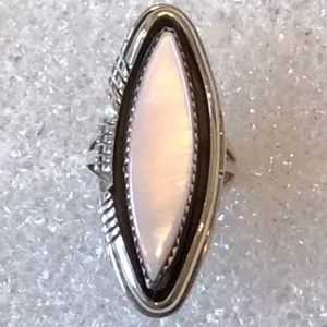 Navajo Sterling Silver Pink Mother Of Pearl Ring 6
